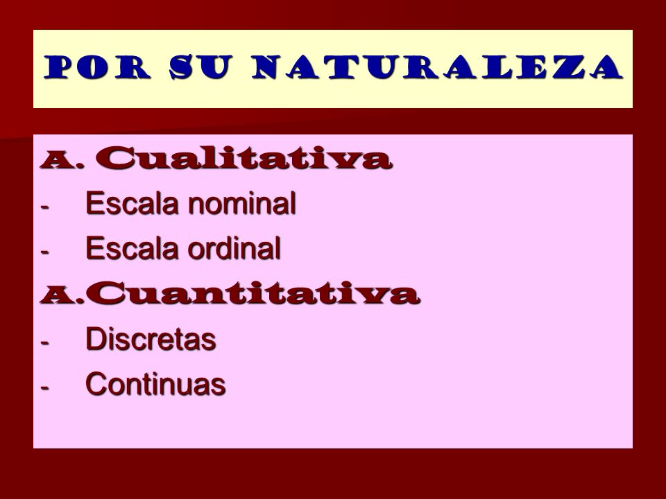 Cualitativa Escala nominal Escala ordinal Cuantitativa Discretas
