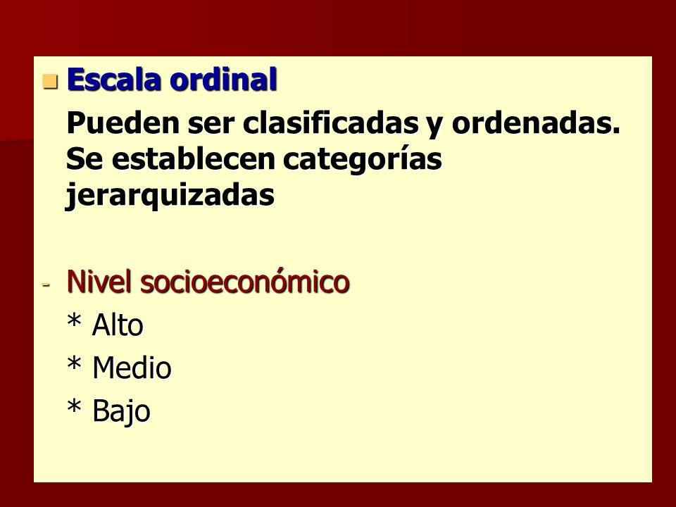 Escala ordinal Pueden ser clasificadas y ordenadas. Se establecen categorías jerarquizadas. Nivel socioeconómico.