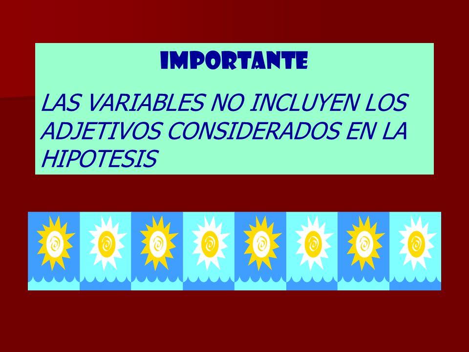 LAS VARIABLES NO INCLUYEN LOS ADJETIVOS CONSIDERADOS EN LA HIPOTESIS