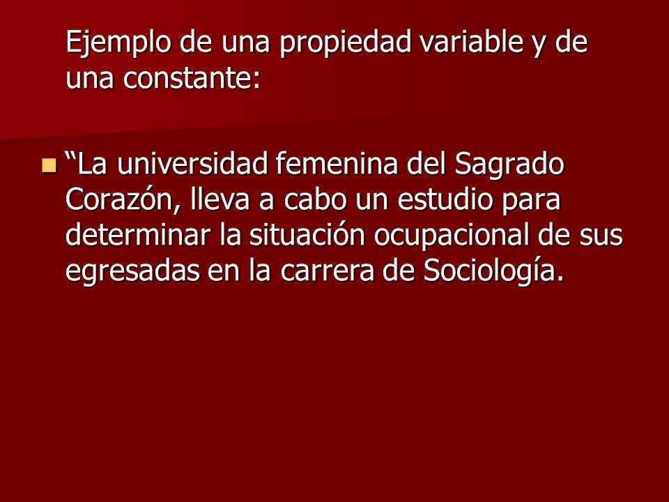 Ejemplo de una propiedad variable y de una constante: