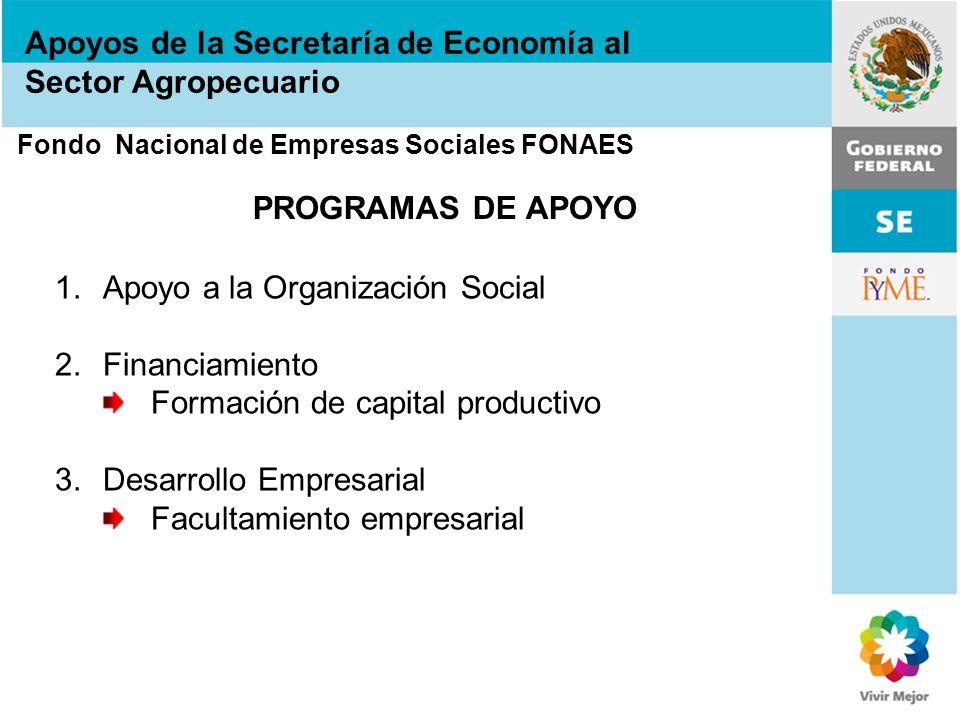 Apoyos de la Secretaría de Economía al Sector Agropecuario