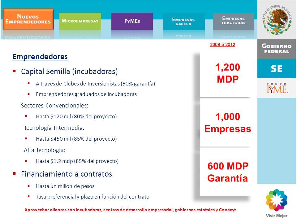 1,200 MDP 1,000 Empresas 600 MDP Garantía