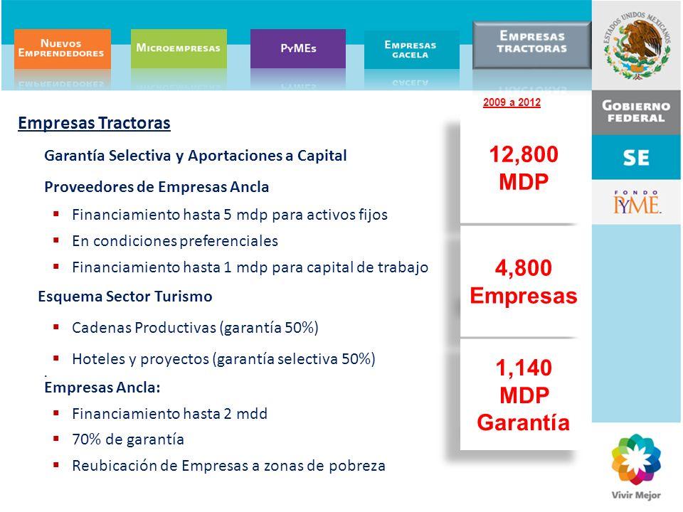 12,800 MDP 4,800 Empresas 1,140 MDP Garantía