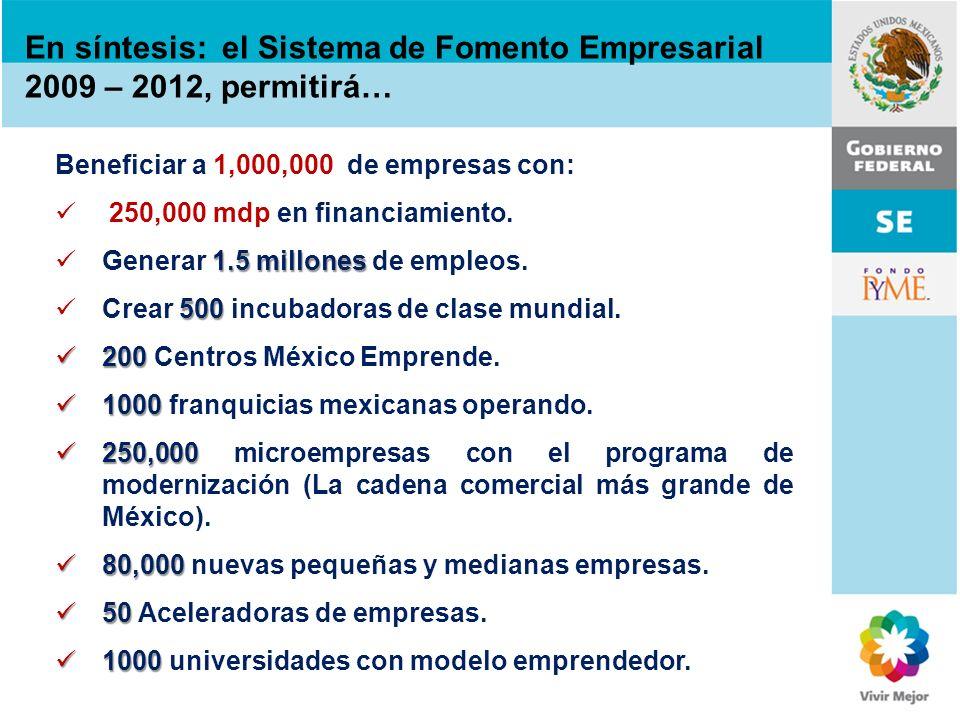En síntesis: el Sistema de Fomento Empresarial 2009 – 2012, permitirá…