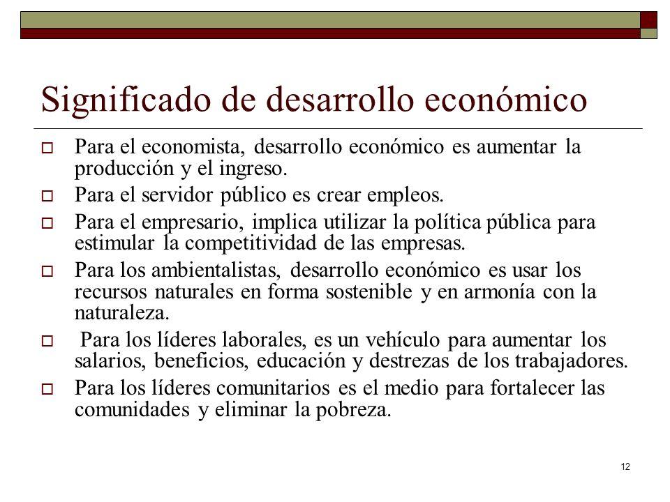 Significado de desarrollo económico