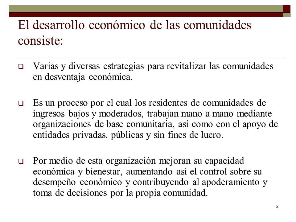 El desarrollo económico de las comunidades consiste:
