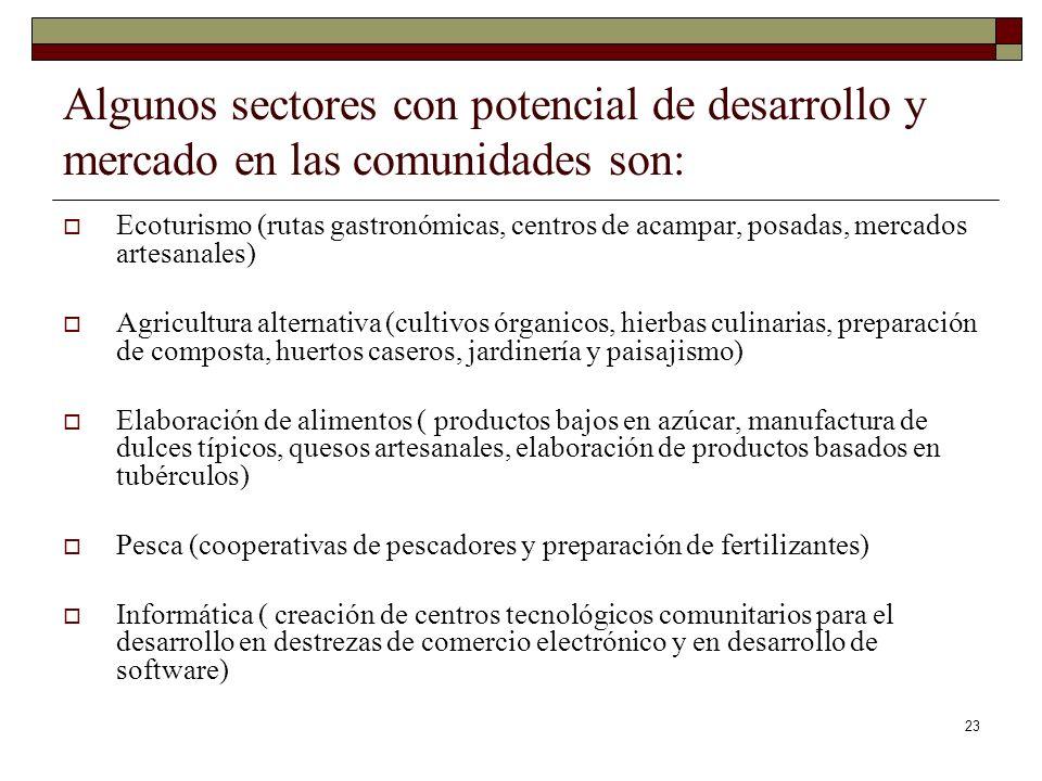 Algunos sectores con potencial de desarrollo y mercado en las comunidades son: