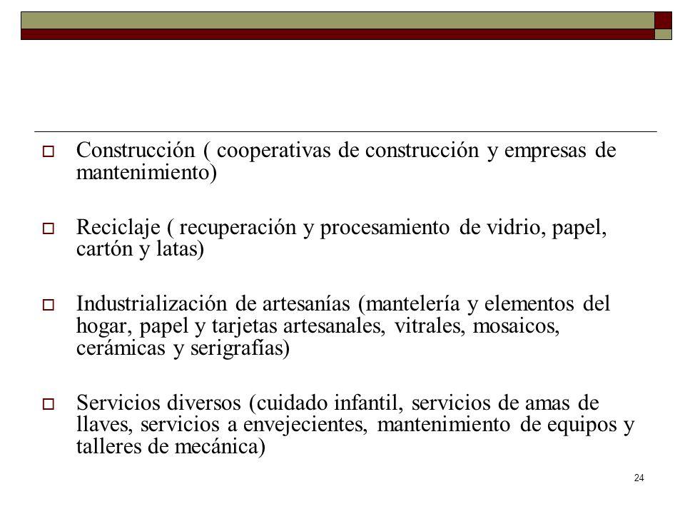 Construcción ( cooperativas de construcción y empresas de mantenimiento)