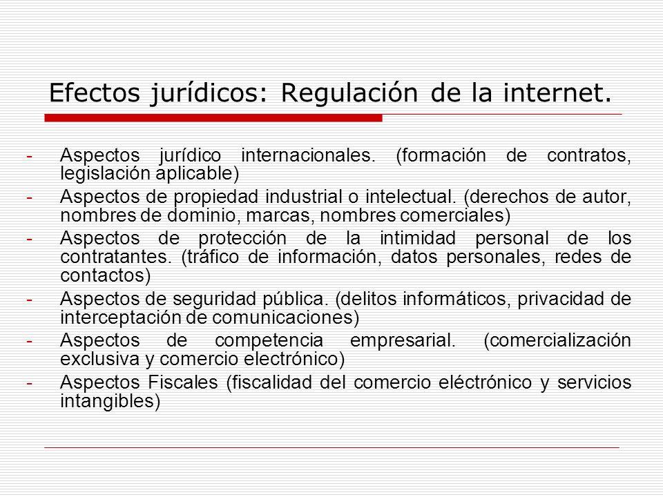 Efectos jurídicos: Regulación de la internet.