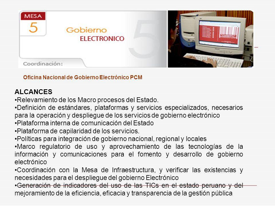 ALCANCES Relevamiento de los Macro procesos del Estado.