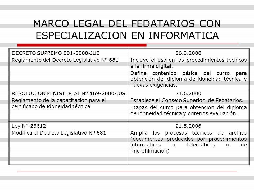MARCO LEGAL DEL FEDATARIOS CON ESPECIALIZACION EN INFORMATICA