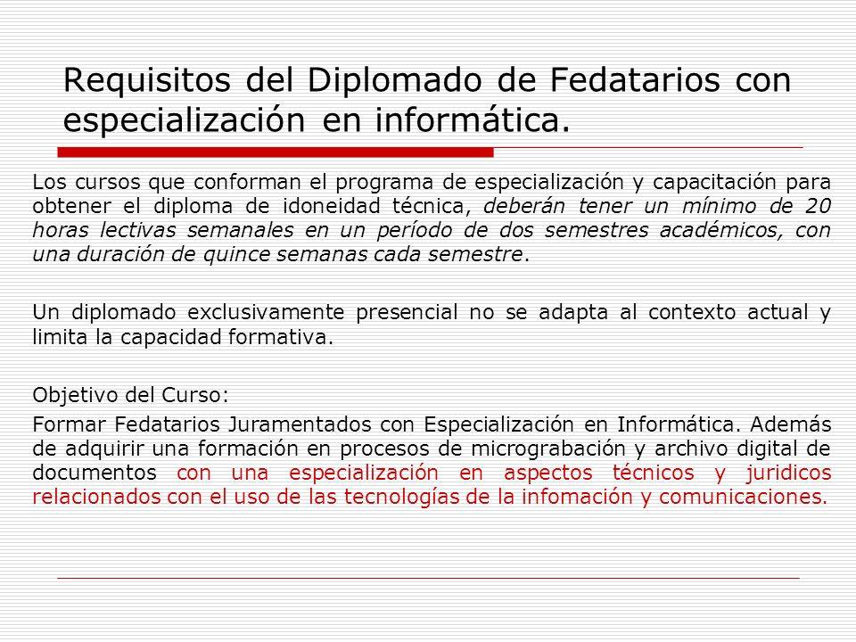 Requisitos del Diplomado de Fedatarios con especialización en informática.