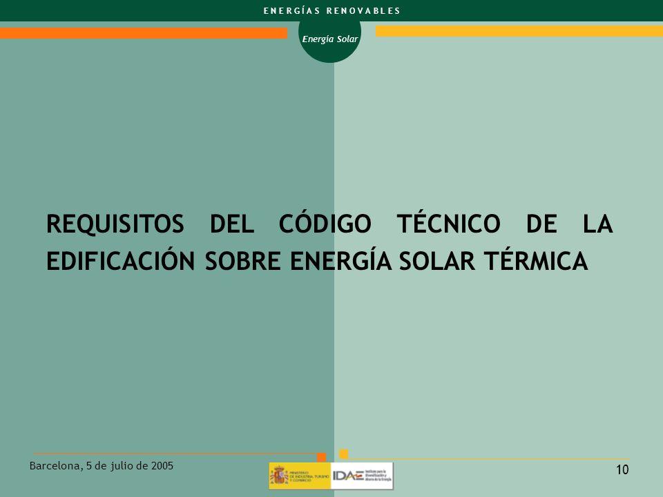 REQUISITOS DEL CÓDIGO TÉCNICO DE LA EDIFICACIÓN SOBRE ENERGÍA SOLAR TÉRMICA