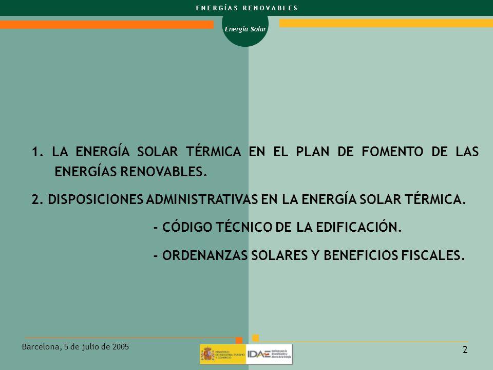 1. LA ENERGÍA SOLAR TÉRMICA EN EL PLAN DE FOMENTO DE LAS