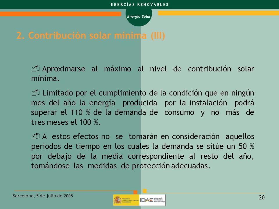 2. Contribución solar mínima (III)