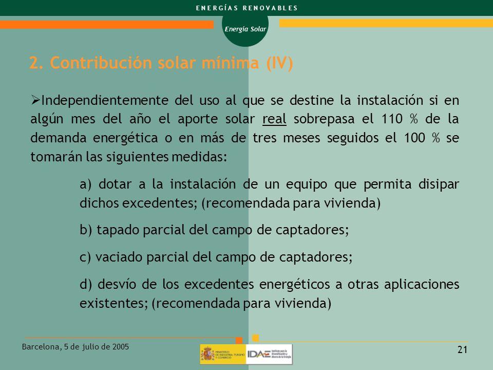 2. Contribución solar mínima (IV)