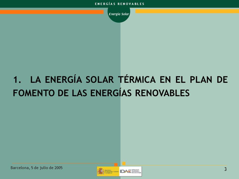 1. LA ENERGÍA SOLAR TÉRMICA EN EL PLAN DE FOMENTO DE LAS ENERGÍAS RENOVABLES