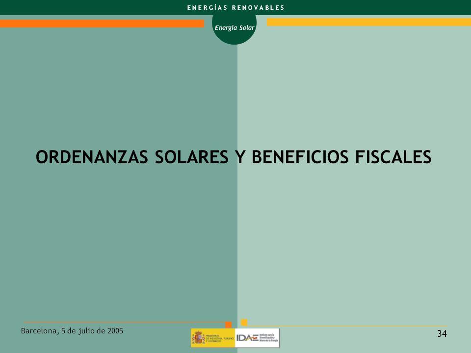 ORDENANZAS SOLARES Y BENEFICIOS FISCALES