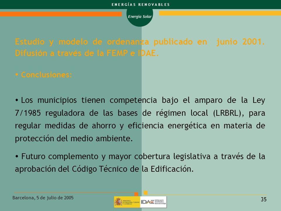 Estudio y modelo de ordenanza publicado en junio 2001