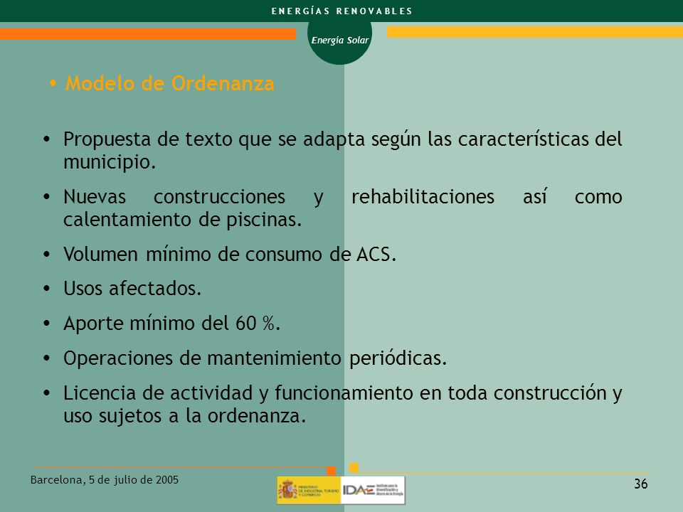 Modelo de Ordenanza Propuesta de texto que se adapta según las características del municipio.