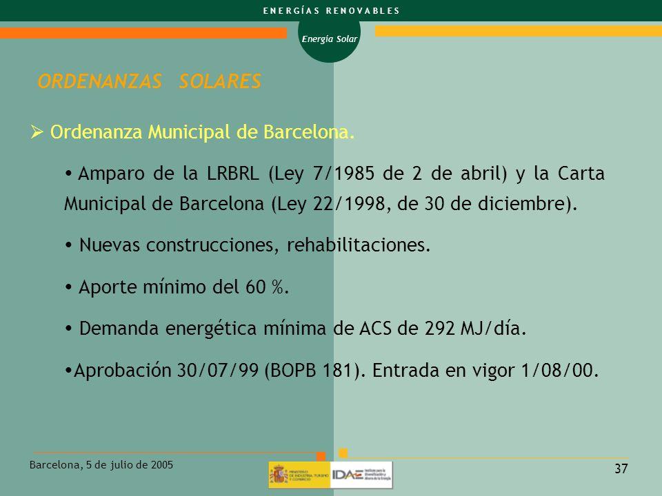 ORDENANZAS SOLARES Ordenanza Municipal de Barcelona.