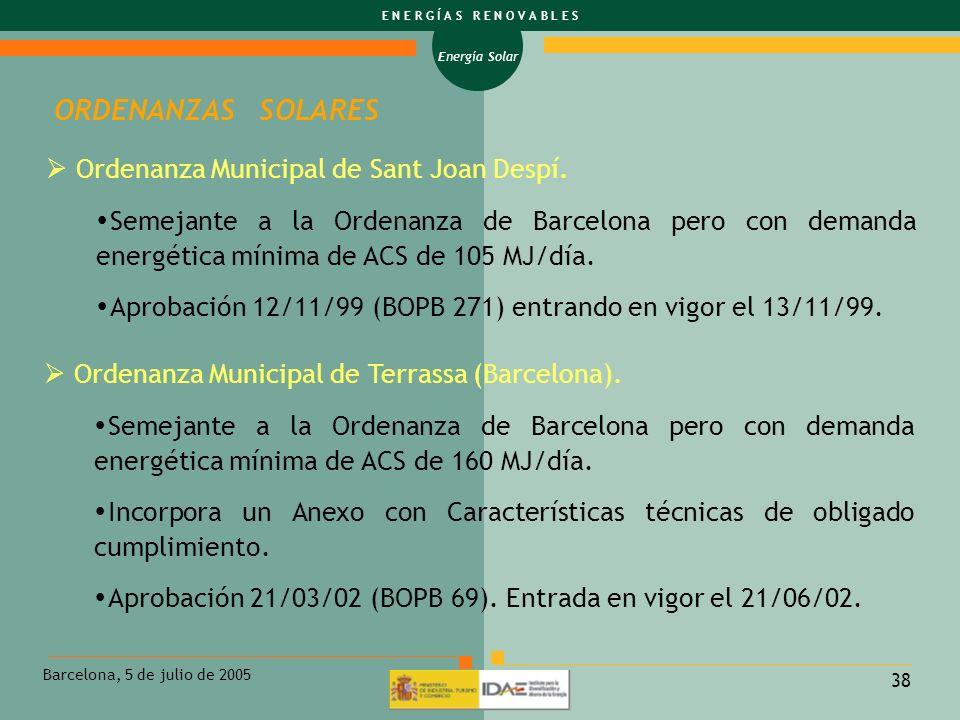 ORDENANZAS SOLARES Ordenanza Municipal de Sant Joan Despí.