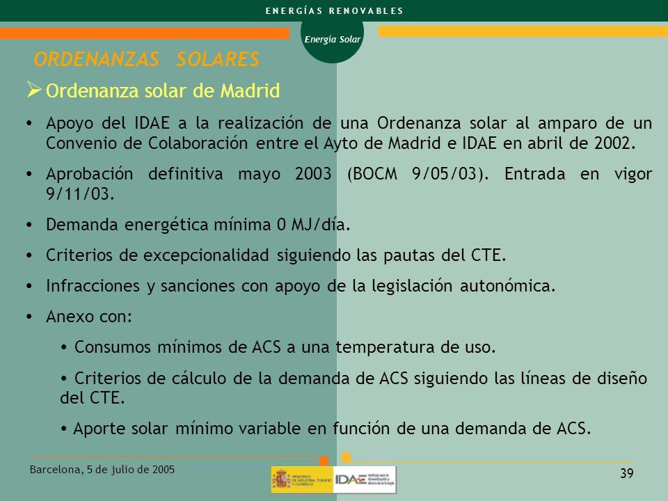 ORDENANZAS SOLARES Ordenanza solar de Madrid