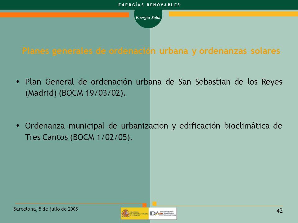 Planes generales de ordenación urbana y ordenanzas solares