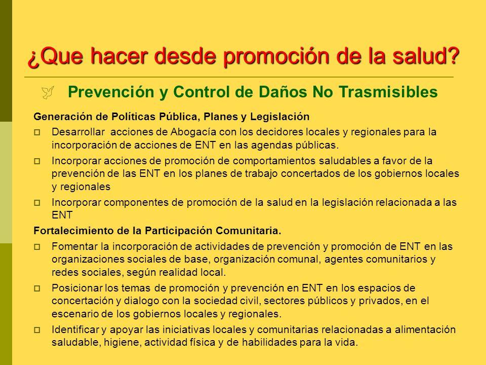 Prevención y Control de Daños No Trasmisibles