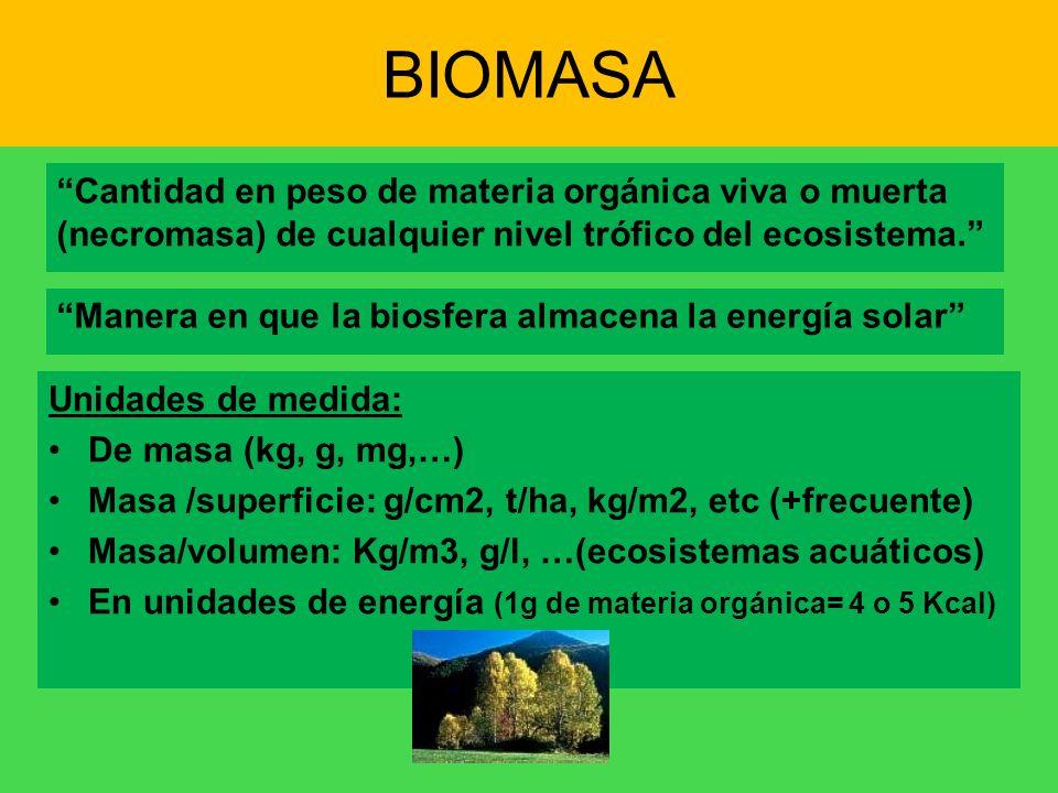 BIOMASA Cantidad en peso de materia orgánica viva o muerta (necromasa) de cualquier nivel trófico del ecosistema.