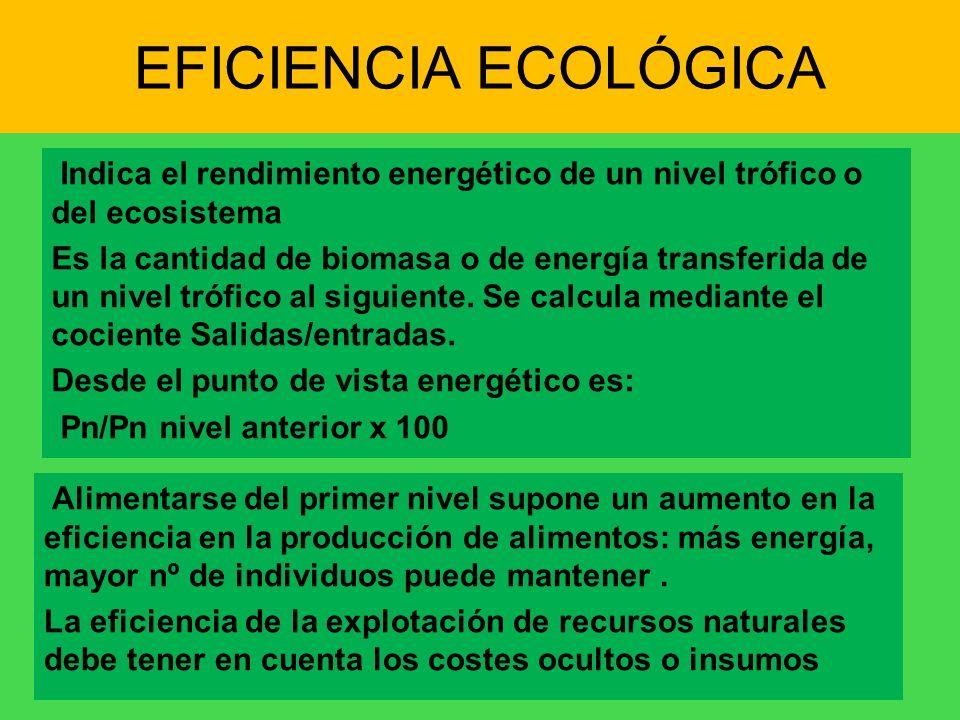 EFICIENCIA ECOLÓGICA Indica el rendimiento energético de un nivel trófico o del ecosistema.