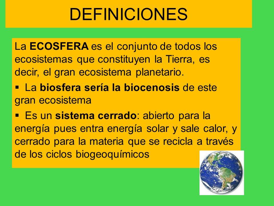DEFINICIONESLa ECOSFERA es el conjunto de todos los ecosistemas que constituyen la Tierra, es decir, el gran ecosistema planetario.