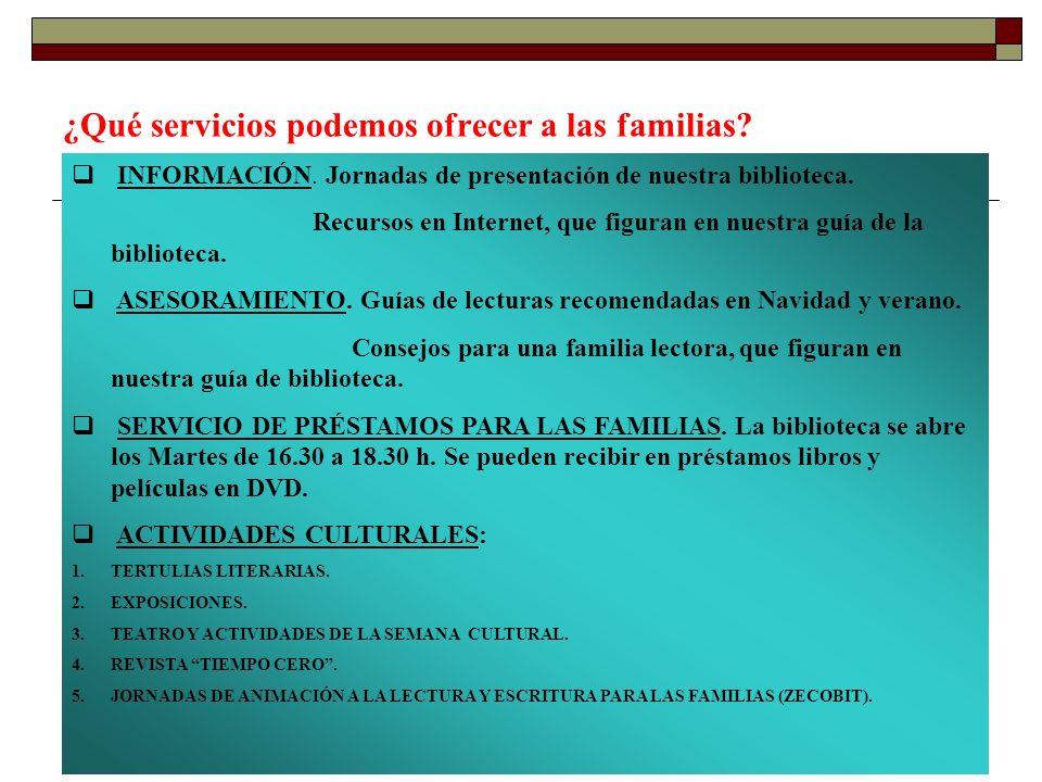 ¿Qué servicios podemos ofrecer a las familias