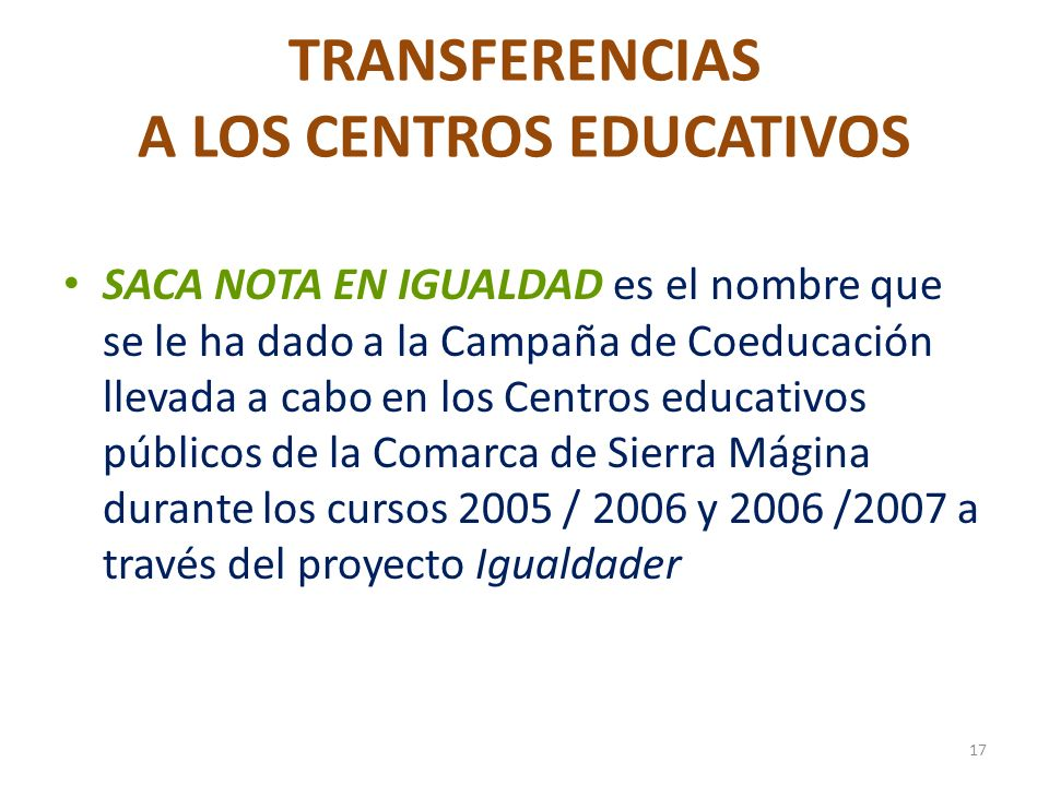 TRANSFERENCIAS A LOS CENTROS EDUCATIVOS
