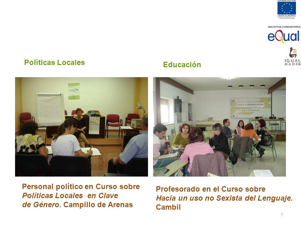 Políticas Locales Educación. Personal político en Curso sobre. Políticas Locales en Clave. de Género. Campillo de Arenas.