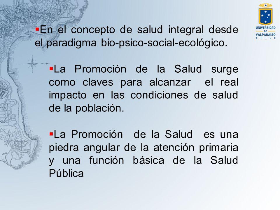 En el concepto de salud integral desde el paradigma bio-psico-social-ecológico.