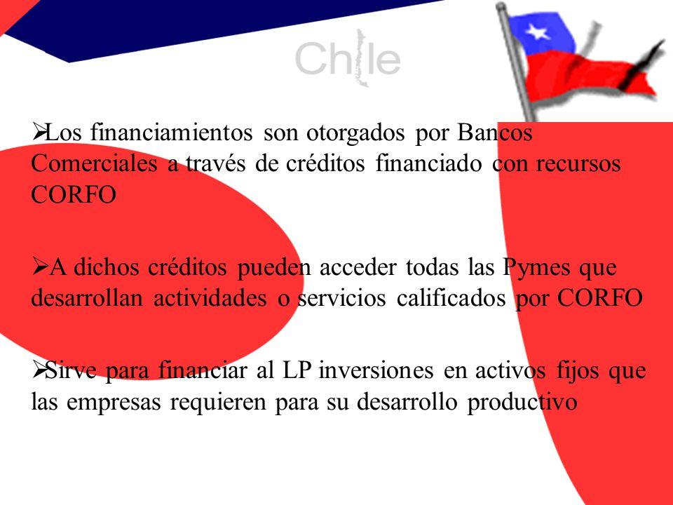 Los financiamientos son otorgados por Bancos Comerciales a través de créditos financiado con recursos CORFO