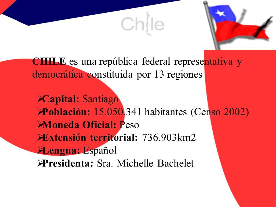 CHILE es una república federal representativa y democrática constituida por 13 regiones