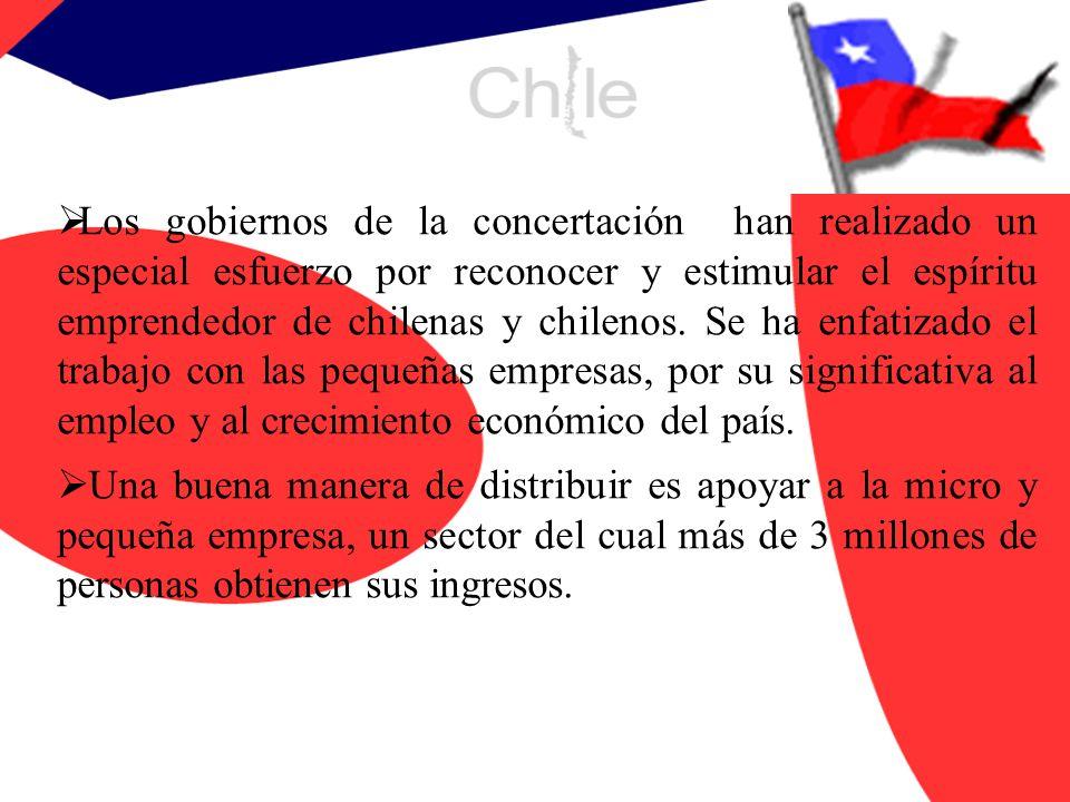 Los gobiernos de la concertación han realizado un especial esfuerzo por reconocer y estimular el espíritu emprendedor de chilenas y chilenos. Se ha enfatizado el trabajo con las pequeñas empresas, por su significativa al empleo y al crecimiento económico del país.
