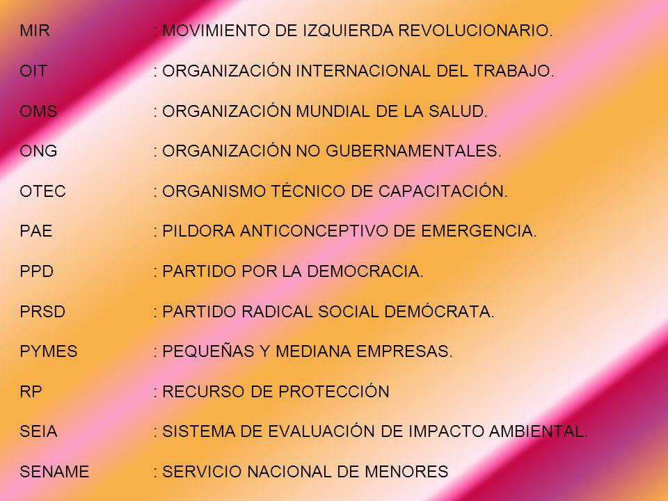MIR. : MOVIMIENTO DE IZQUIERDA REVOLUCIONARIO. OIT