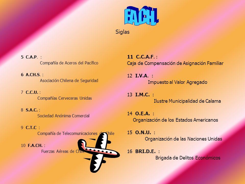 F.A.CH. Siglas. 5 C.A.P. : Compañía de Aceros del Pacífico. 6 A.CH.S. : Asociación Chilena de Seguridad.