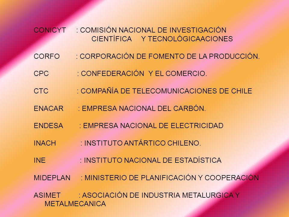 CONICYT : COMISIÓN NACIONAL DE INVESTIGACIÓN