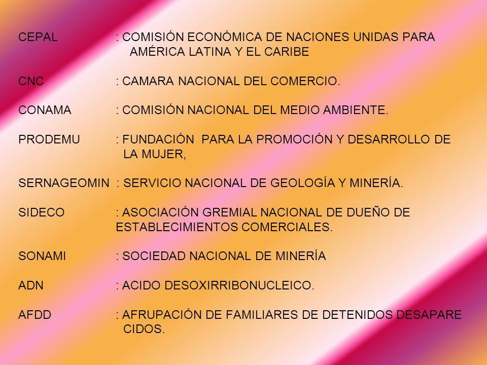 CEPAL : COMISIÓN ECONÓMICA DE NACIONES UNIDAS PARA AMÉRICA LATINA Y EL CARIBE CNC : CAMARA NACIONAL DEL COMERCIO.