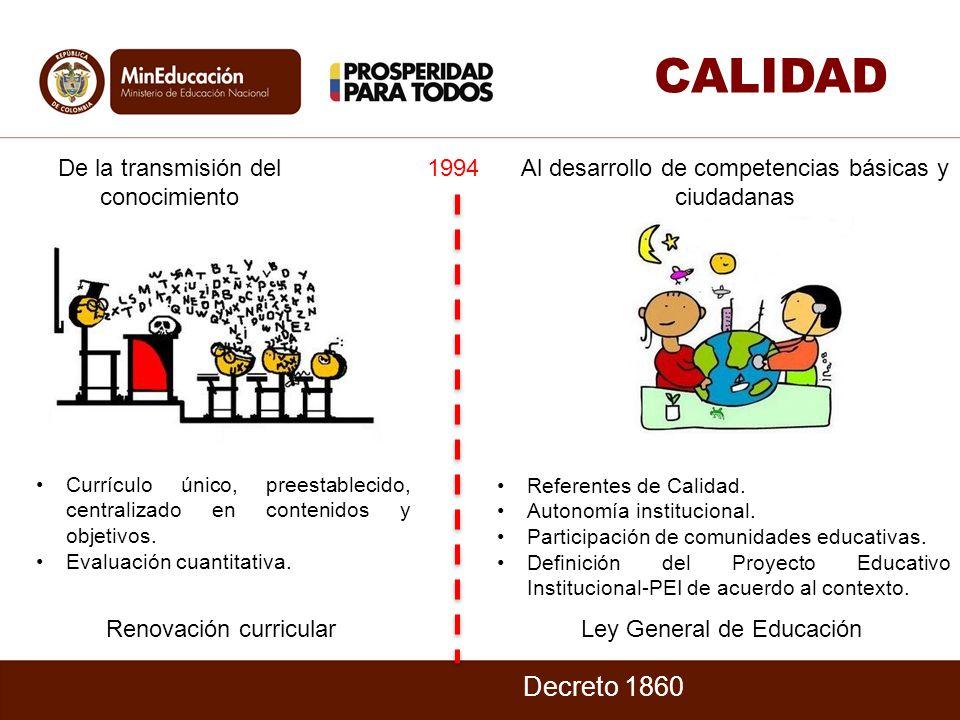 CALIDAD Decreto 1860 De la transmisión del conocimiento 1994