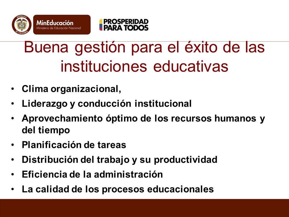 Buena gestión para el éxito de las instituciones educativas