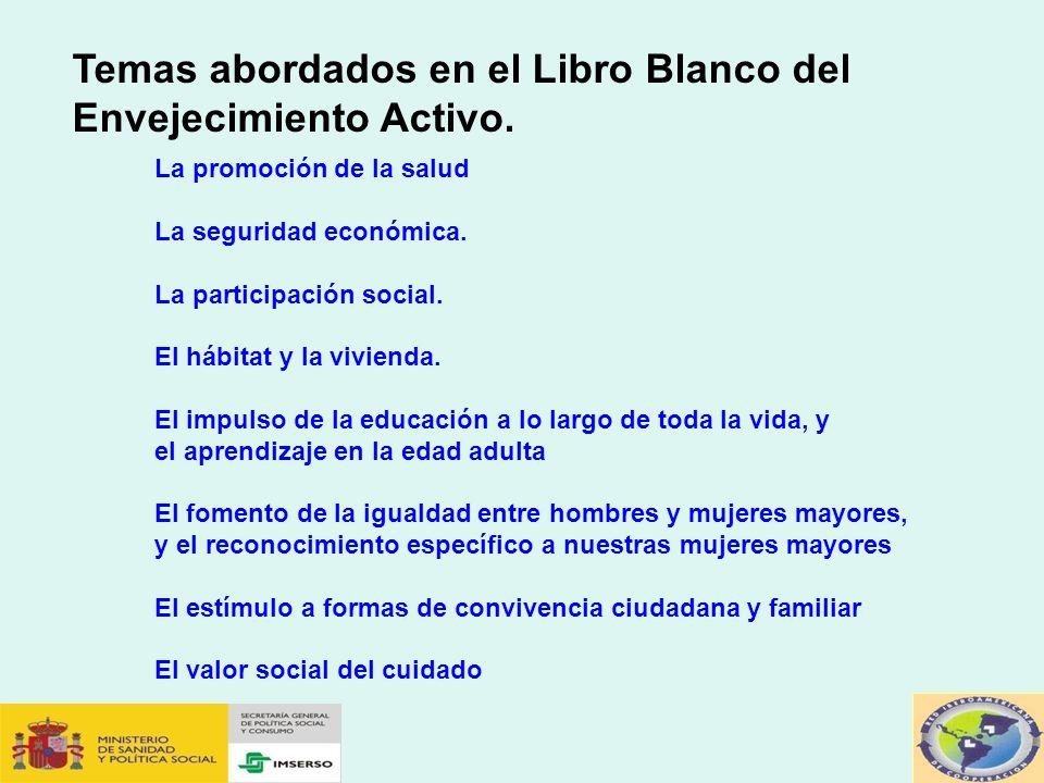 Temas abordados en el Libro Blanco del Envejecimiento Activo.