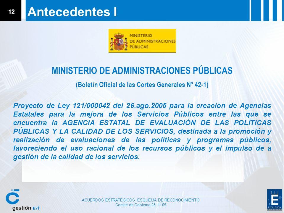 Antecedentes I MINISTERIO DE ADMINISTRACIONES PÚBLICAS
