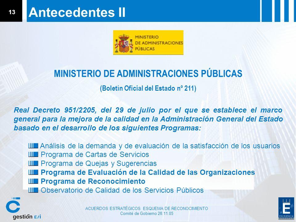 Antecedentes II MINISTERIO DE ADMINISTRACIONES PÚBLICAS