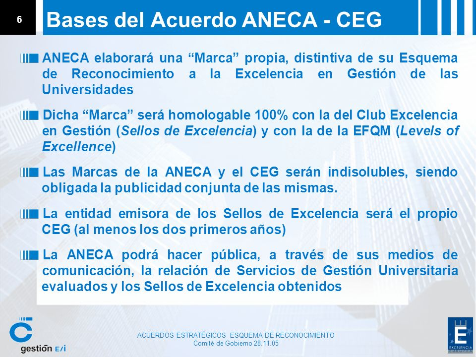 Bases del Acuerdo ANECA - CEG