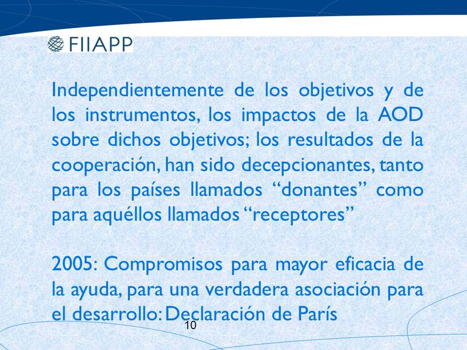 Independientemente de los objetivos y de los instrumentos, los impactos de la AOD sobre dichos objetivos; los resultados de la cooperación, han sido decepcionantes, tanto para los países llamados donantes como para aquéllos llamados receptores